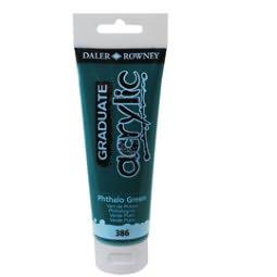 Colore acrilico Daler Rowney fine Graduate tubo 120ml  colore Verde ftalo cod. 386