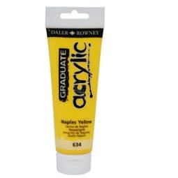 Colore acrilico Daler Rowney fine Graduate tubo 120ml giallo di napoli cod. 634
