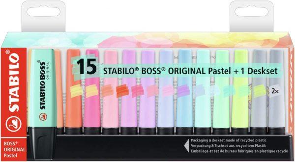 Set 15 evidenziatori stabilo boss Pastel